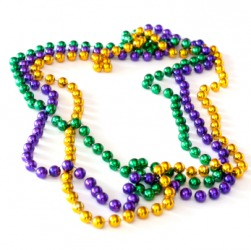 Stands of Mardi Gras beads.