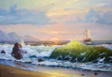 A painting of a marine landscape.