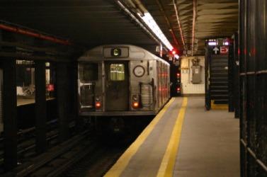 A train departs.