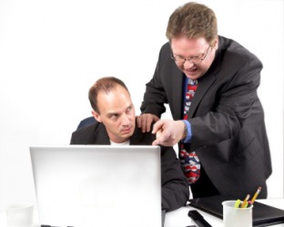 A boss nags his employee.