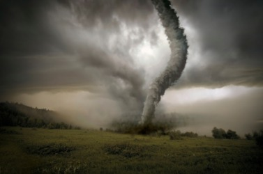 The distruction of a tornado is a natural disaster.