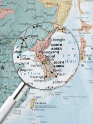 A map of North and South Korea - the site of the Korean War.