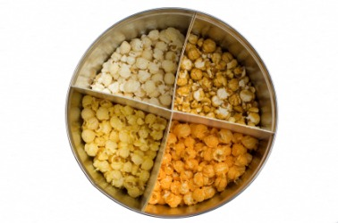 Each quadrant contains a different kind of popcorn.