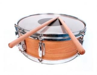 A snare drum would make a rat-a-tat sound.