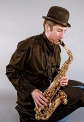 A man playing a sax.