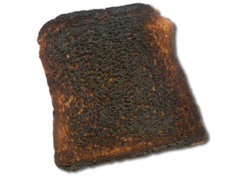 A piece of scorched toast.
