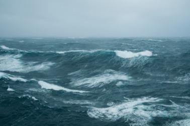 A stormy sea.