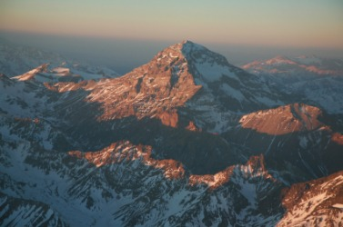 Aerial view of Aconcagua in the Andes.
