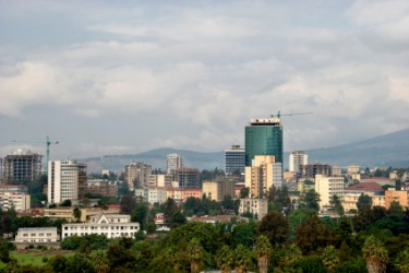 Skyline of the city of Addis Ababa, capital of Ethiopia.