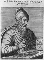 An illustration of Archimedes.