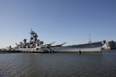 A battleship, the USS New Jersey.