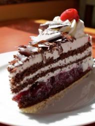 A slice of Black Forest cake.