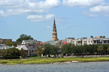 A view of Charleston, South Carolina, as seen from the water.