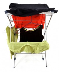 Laundry drying on a clotheshorse.