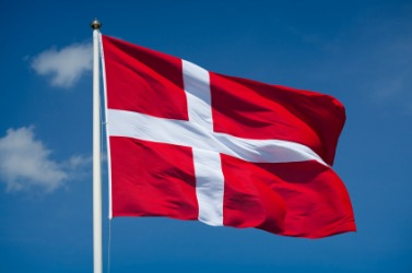 The flag of Denmark.