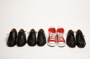 One pair of shoes is very different from the others.