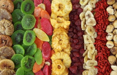 A variety of dried fruits.