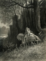 An engraving depicting Enid and Sir Geraint.