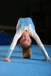 A gymnast performs her floor exercises.