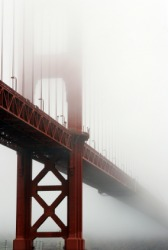 Fog surrounds the Golden Gate bridge in San Francisco.