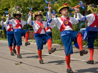 Morris dancing, an English folk dance.