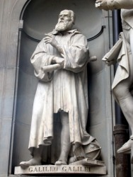 A statue of Galileo Galilei.