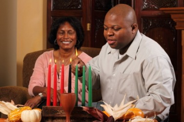A couple celebrating Kwanzaa.