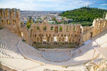 Ruins of the odeum of Herodes Atticus.