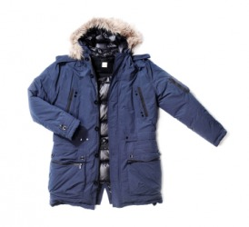 A blue men's parka.