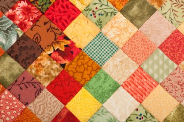 A brightly colored quilt.