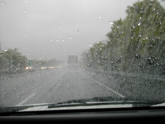 Driving through a rainstorm.
