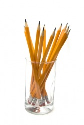 Pencils in a glass.