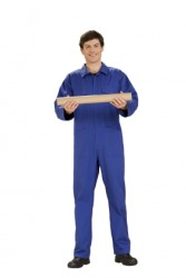 A man wearing coveralls, sometimes called a boiler suit.