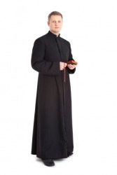A priest wearing a cassock.