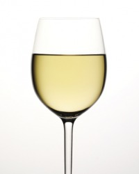 A glass of Chablis wine.