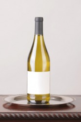 A bottle of chardonnay wine.