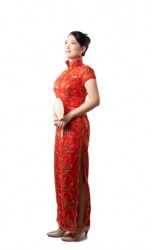 A woman wearing a cheongsam.