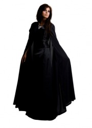 A woman wearing a long black cloak.