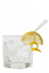 A glass of club soda or soda water.