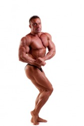 This bodybuilder could be considered beefcake.