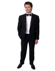 A young man in a dinner jacket.