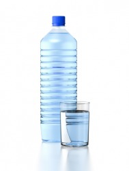 A bottle of drinkable water.