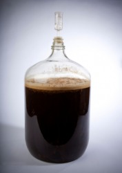 This carboy is used in the fermentation of beer.