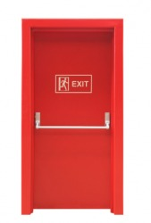 A bright red fire door.