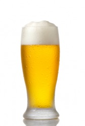 Froth on a glass of beer.