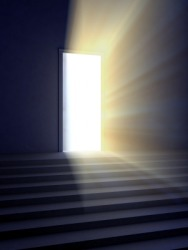 A glowing doorway.