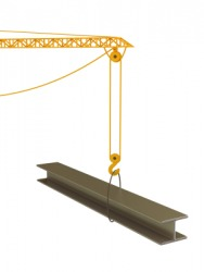 An I-beam suspended from a crane.