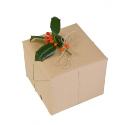 A package wrapped in kraft paper.