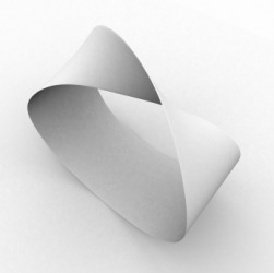 A white Mobius strip.