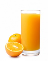 A tall glass of OJ.